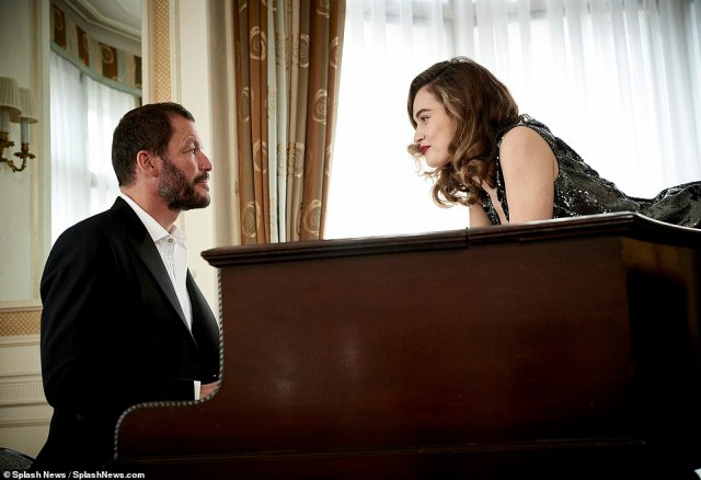 That look: The pair stared into each other's eyes during the photoshoot ain the Prince Alexander Suite at Claridges