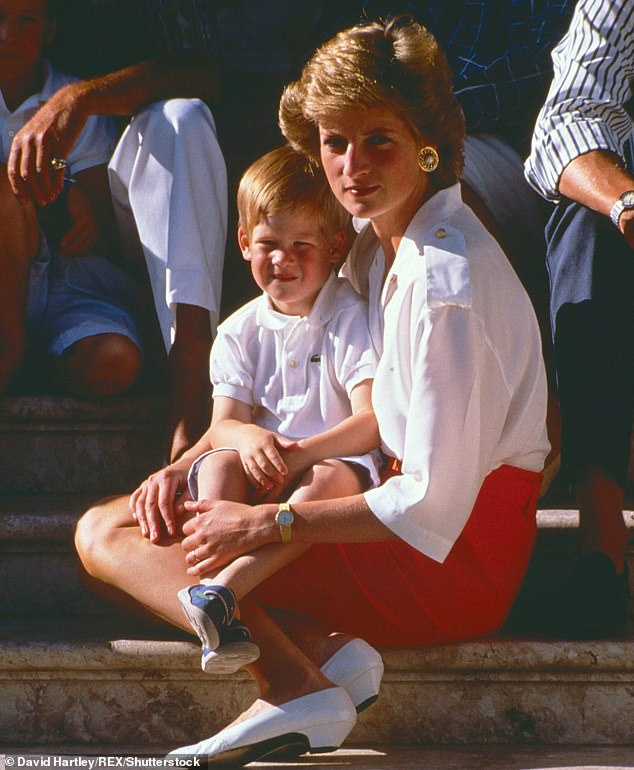 Sources have revealed that the Duke of Sussex (pictured with his mother) - gets 'regular updates and is aware of everything that is happening' while he remains in his $14 million Santa Barbara mansion
