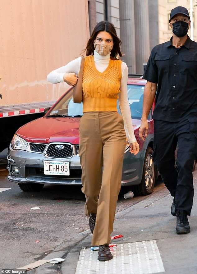 Under his eye:Along with her tight knit entourage, Jenner was in the company of one of her go-to bodyguards