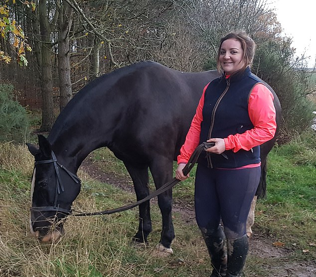 Dani Kirkman, 25, and her 13-year-old cob, Prince, were taking an unfamiliar route when they approached the steep-edged ditch too quickly to stop (pictured together)