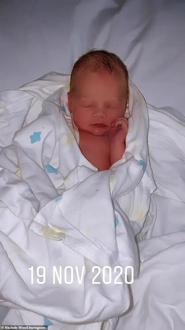 A healthy baby girl: The 26-year-old revealed that the tot was born at 3:25am, weighing 3.3kg and measuring 54cm
