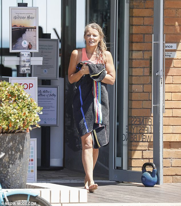 Fit at fifty!Simone Callahan is never one to shy away from showing off her sensational bikini body - and she gave the public a flash of her sensational figure whilst enjoying Melbourne's Brighton Baths on Friday