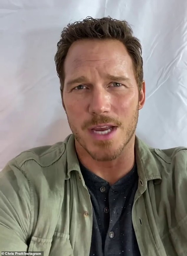 Desperate times: Chris Pratt (pictured) commented on the post and hilariously begged Hemsworth to stop working out so he wouldn't be outshone on screen when they start filming Thor 4 together next year