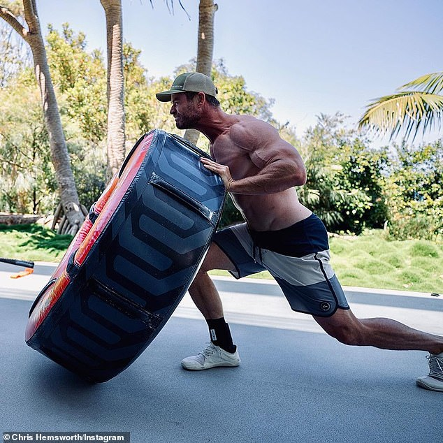 Flawless: Chris Hemsworth showed off his incredible biceps in an Instagram photo on Saturday