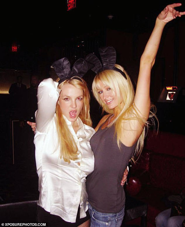Joined at the hip: The stars were often seen partying together at hot spots across the globe in the noughties and were frequently joined by auburn starlet Lindsay Lohan (pictured in 2012)