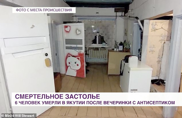 A group of nine people drank the antiseptic hand wash when the alcohol ran out at a party on Thursday in Tomtor village in the Tattinsky district of the country's largest region, Yakutia. Pictured: Inside the house where the party took place