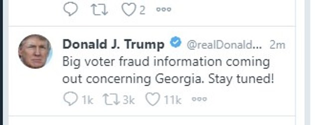 'Big voter fraud information coming out concerning Georgia,' Trump claimed on Twitter