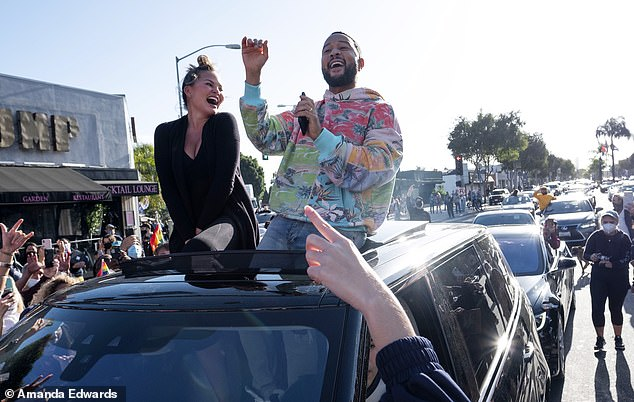 Joy: The couple recently celebrated President-elect Joe Biden's win in the November elections with a drive through West Hollywood where other supporters had gathered to laud the results after an arduous few days in limbo