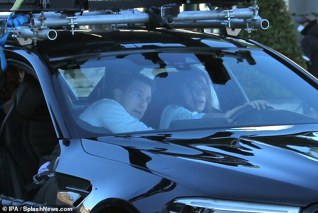 Upcoming: Mission Impossible 7 is due for release next November after filming was delayed amid the pandemic (pictured Tom and Hayley in the car on Saturday)