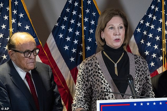 Trump's election fraud Sidney Powell has refused to offer Fox News any evidence to support the claims she made during a press conference Thursday, pictured above