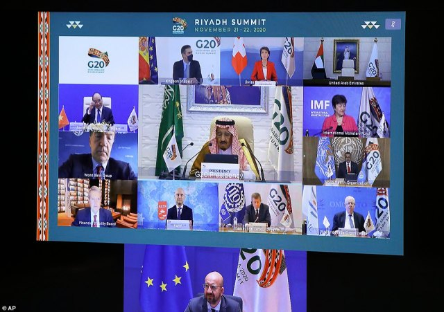 Pictured: European Council President Charles Michparticipates in a virtual G20 meeting, hosted by Saudi Arabia, at the European Council building in Brussels,