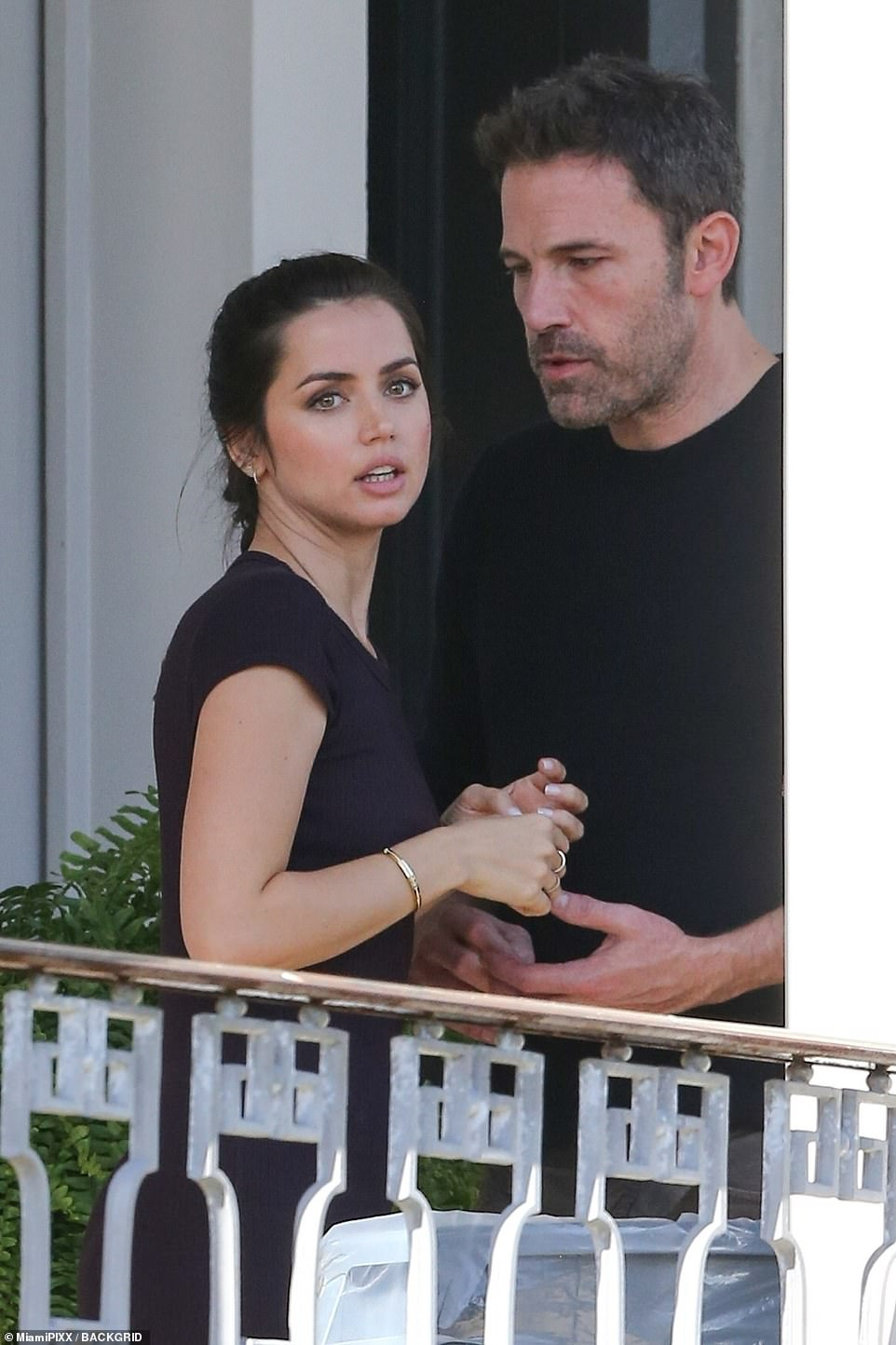 Bling: She flashed the massive sparkling engagement ring while chatting with Ben from the balcony of the New Orlean's set