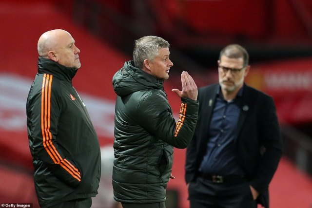 Ole Gunnar Solskjaer and Mike Phelan watched on with the hosts looking to earn their long-awaited home win of the season