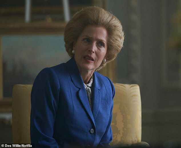 From the off, we see the Queen as mean-spirited and snobbish towards her new Prime Minister, Mrs Thatcher (pictured)