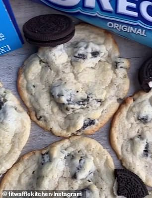 The cookies are made from butter, cream cheese, flour, sugar and 10 broken Oreos
