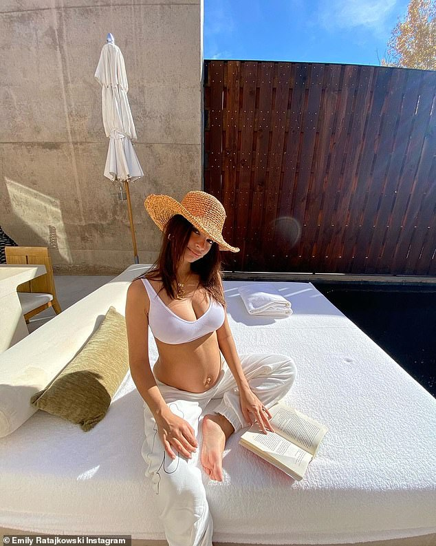 Baby moon: Emily and her husband spent a few days at luxury Utah resort Amangiri as she posted up a storm sharing snippets of the dreamy vacation; pictured Wednesday