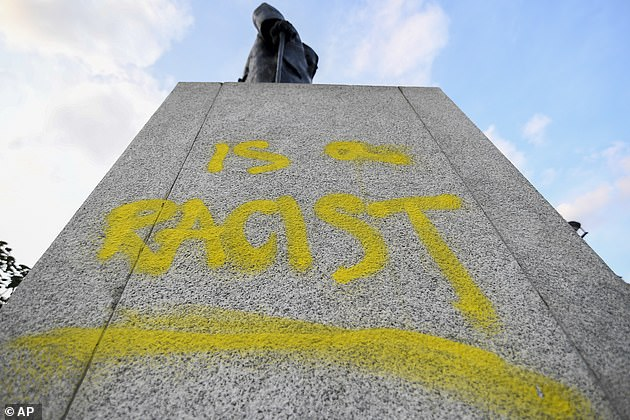 A statue of the former-PM was branded with the words 'was a racist' during demonstrations in the summer