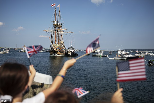 Dozens of events had been planned to commemorate the event but were canceled or postponed to 2021 due to the pandemic.  Pictured above the Mayflower II, a replica of the original Mayflower ship that brought Pilgrims to America 400 years ago, travels to Plymouth in August as it returns home after extensive renovations