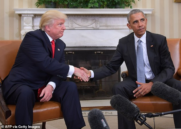 McEnany claimed on Friday that Trump was not given an orderly transition by the outgoing Obama administration. Then-President-elect Trump is seen left shaking hands with then-President Barack Obama in the Oval Office on November 10, 2016