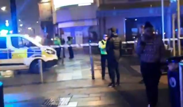 Two people have been arrested on suspicion of violent disorder and are in custody in Cardiff Bay. Pictured: Video footage taken at the scene