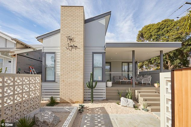 On sale: The homes went under the hammer for a reported $3.2million to $3.4million. Pictured: Jimmy and Tam's completed house