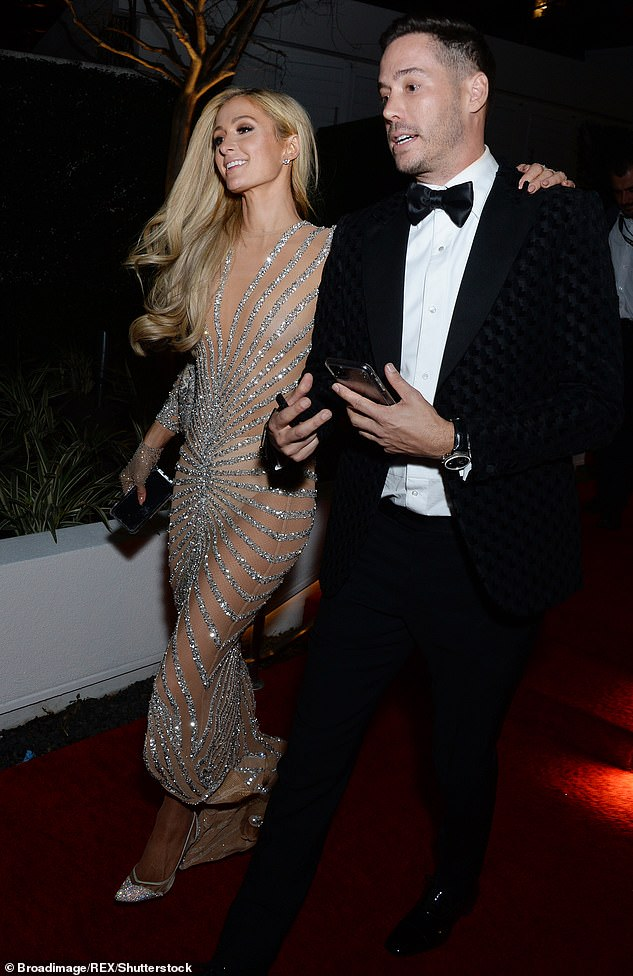 Red carpet date: Paris made it Instagram official with boyfriend Carter Reum, 39, in April, after they were first romantically linked in January at a Golden Globes after party (pictured in January, 2020)