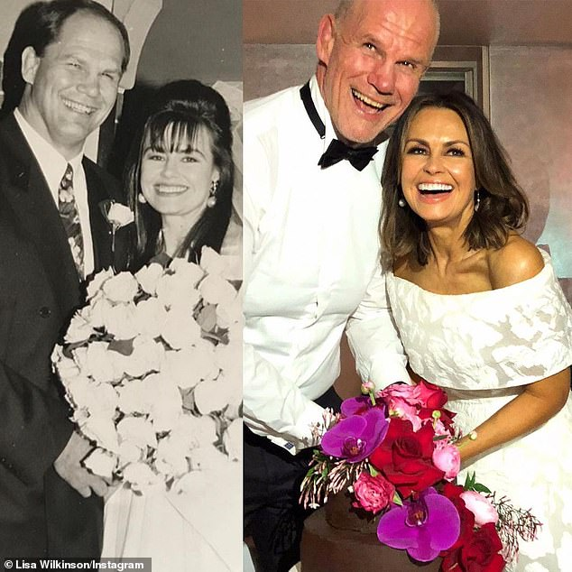 Stronger than ever: Lisa and Peter are pictured on the left at their wedding in Sydney in September 1992, and on the right at their vow renewal ceremony at Bathers' Pavilion in 2017