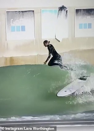 Hobby:Lara showed off her impressive skills on the board while at the resort