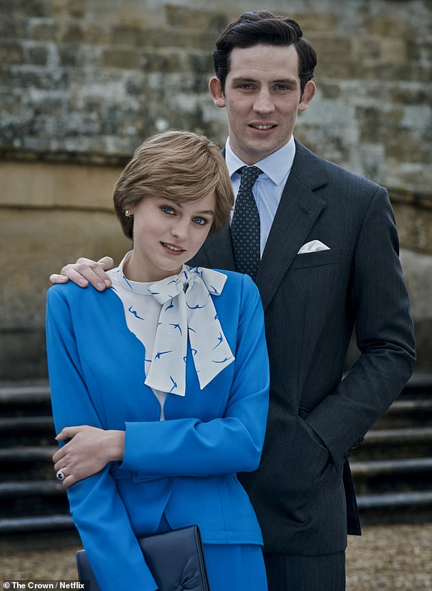 Season four of The Crown featuresJosh O'Connor and Emma Corrin (pictured) playing Prince Charles and Princess Diana