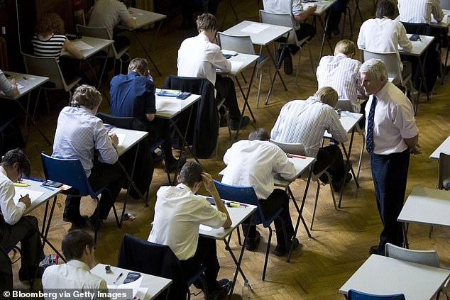 Pupils who have missed out on lessons due to coronavirus are set to receive 'easier' entry to universities under plans to make lower A-level offers to students hit hardest (stock image)