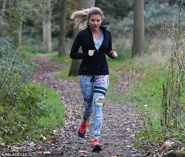 Keep going: Amy jogged through the woods shortly after she was announced to be one of the stars appearing on Celebrity Ex In The City this autumn