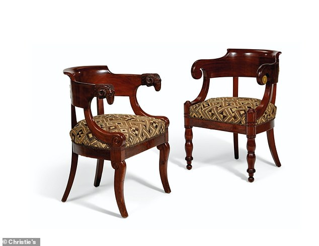 Sitting pretty! Two French mahogany and ormalu mounted fauteuils dating back to 1810 will no doubt fetch competitive bids