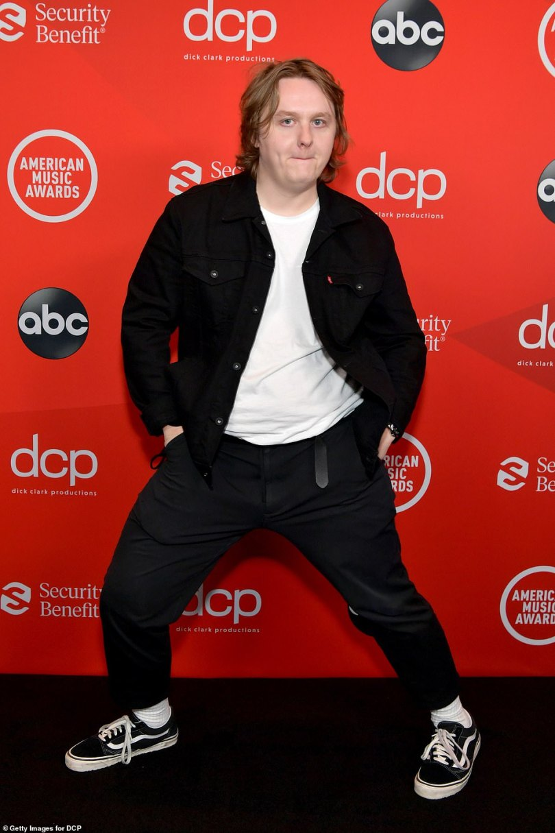 Quirky:Lewis Capaldi kept comfortable for the ceremony, but brought every inch of his over-the-top personality to the red carpet