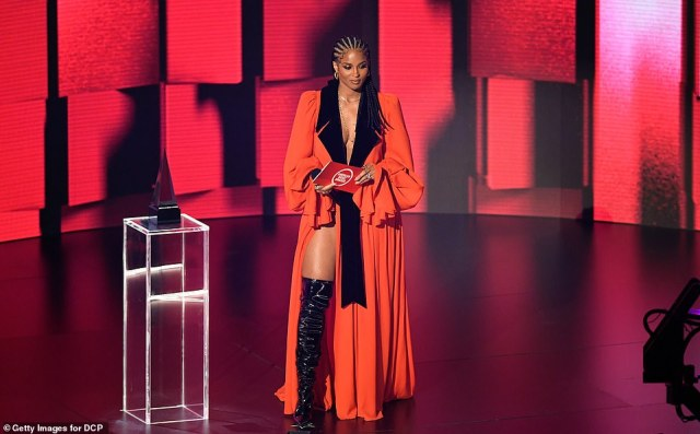 Leggy lady: Ciara looked stunning as she presented the first award of the night to The Weeknd