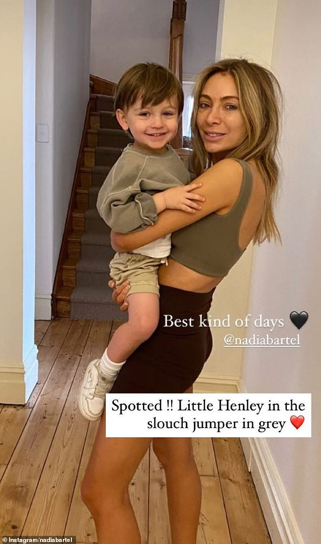 Stripped-back beauty: Former WAG Nadia Bartel shared a rare makeup-free selfie to Instagram on Sunday. Pictured with her two-year-old son, Henley
