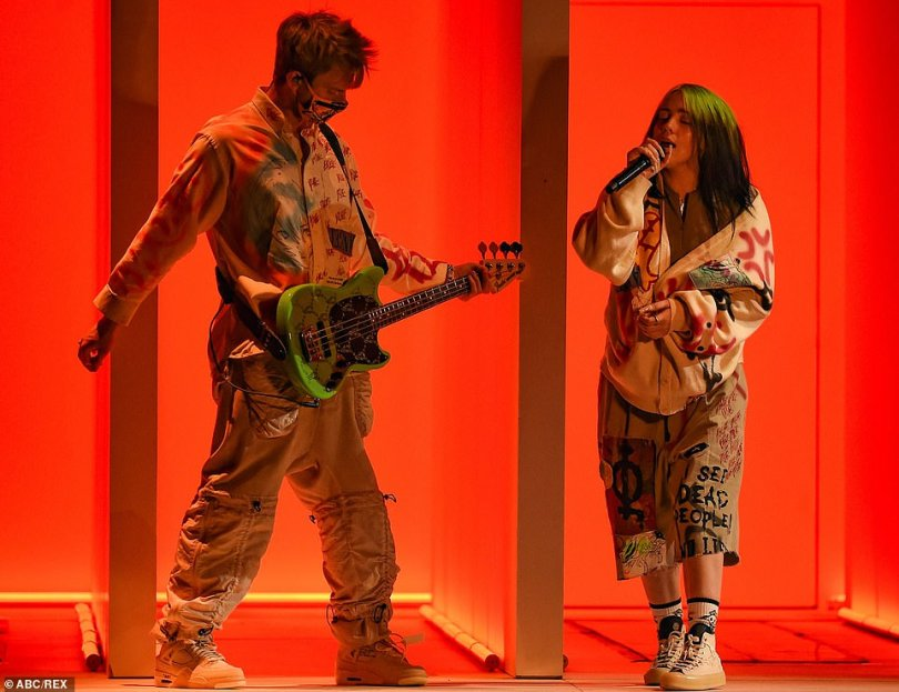 Sibling act: Billie Eilish graced the social-distanced audience with the debut performance of her single Therefore I Am, for which she was joined by brother Finneas O'Connell