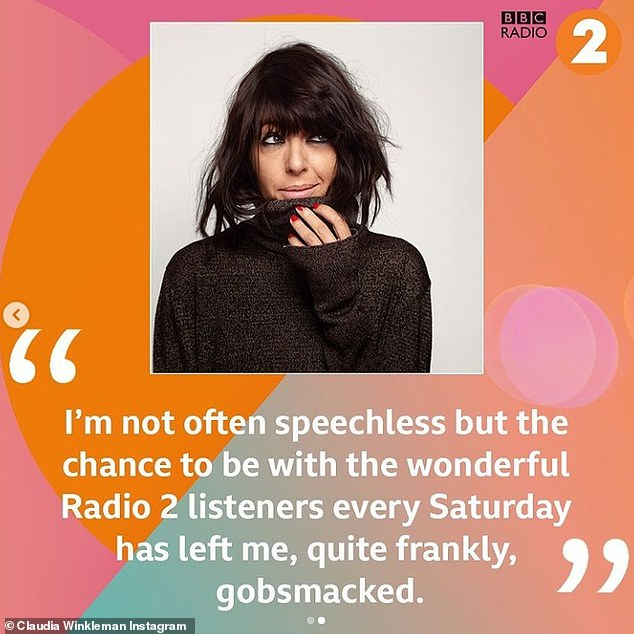 Exciting: Claudia Winkleman is set to replace Graham Norton as host of BBC Radio 2's Saturday morning show as star said on Monday she's 'gobsmacked' about getting role