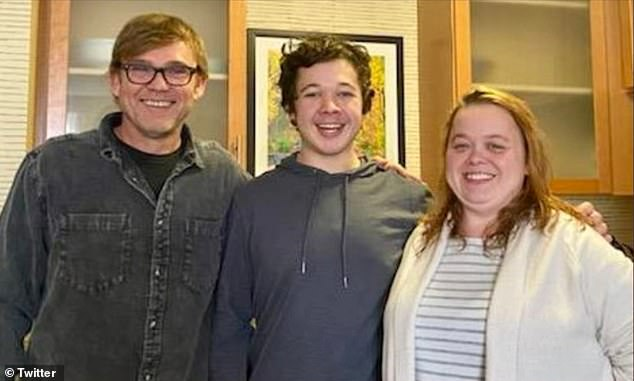 Ricky Schroder (left) posted a photo with a smiling Kyle Rittenhouse (center) and his mother, Wendy Rittenhouse (right), on Sunday, two days after the actor's contribution to the accused killer's bail fund helped free the boy