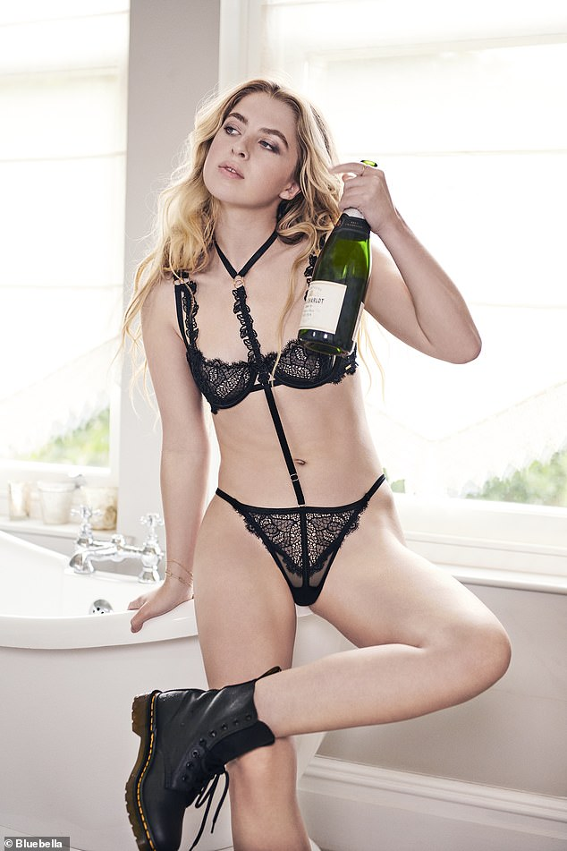 In her element: The celebrity offspring, 20, caught the eye as she modelled a series of lace underwear for the festive-themed campaign