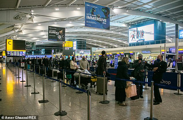 If people test negative, they will be free to lead their normal lives more than a week earlier than the current 14-day system allows.  Pictured: Heathrow Airport