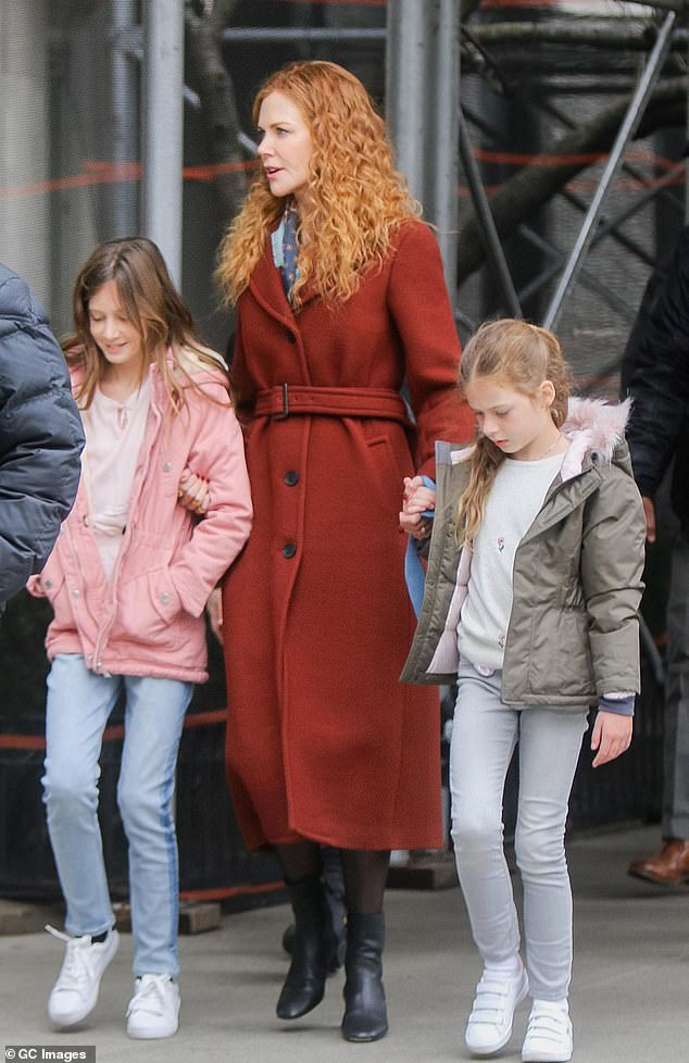 Her greatest role yet:Nicole and Keith share two daughters - Sunday, 12, and Faith, nine. Picturedon March 29, 2019, in New York City