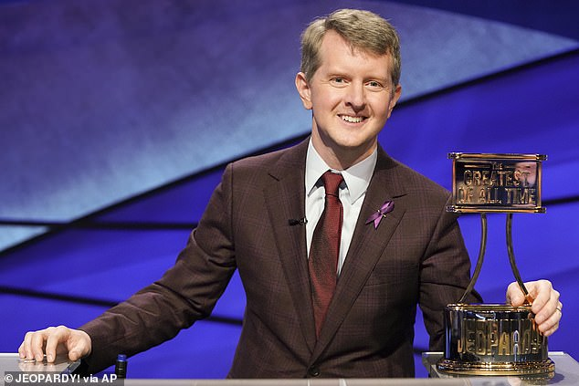 Familiar face: Ken Jennings, the former Jeopardy! champion and most winningest contestant of all time, was announced as the first guest host to appear following Trebek's death