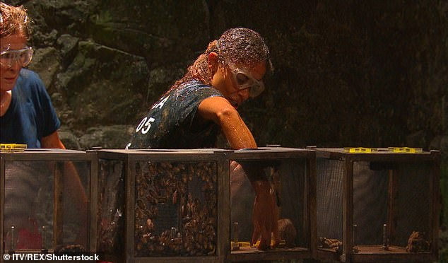 Jessica Plummer is covered in cockroaches as she competes in I'm a Celebrity earlier this week