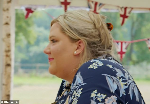 Stressful:After her eight custard slices failed to set, Laura hid her head in the freezer as she cried over the stressful challenge during the show's final