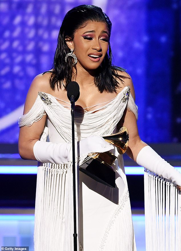 Going for Gold: Cardi won the Grammy for Best Rap Album last year for her debut studio album Invasion of Privacy, and she has racked up seven other nominations since 2018 (pictured from February 2019)