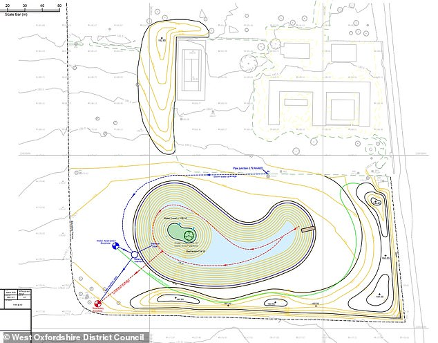 'Just not on!': The new plans would increase the lake to 102 metres wide, 55.5 metres long with a 17 x 8 metre island, but a local has written to the council to object to the proposal