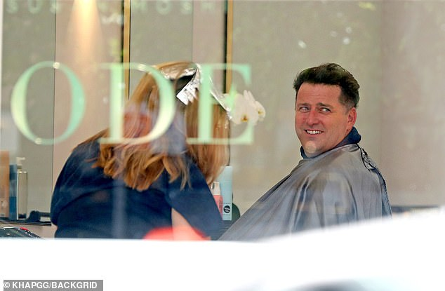 Making the cut: Karl Stefanovic visited the hair salon on Tuesday as his wife, Jasmine Yarbrough, looked after their six-month-old daughter, Harper