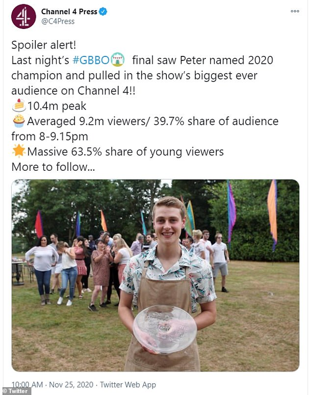 Yay!The Great British Bake Off finale on Tuesday garnered the show's largest ever audience since its move from BBC to Channel 4 in 2017