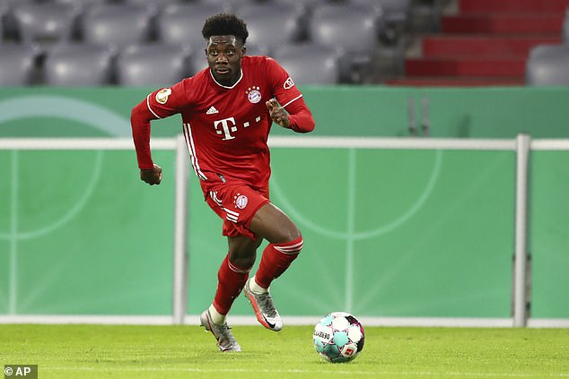 He has drawn comparisons with Bayern's Alphonso Davies (above) due to his style and pace