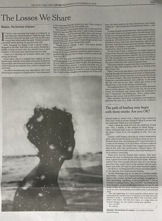 The Duchess wrote the powerful essay entitled 'The Losses We Share' for the American newspaper, the New York Times